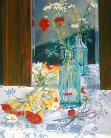 Poppies in Blue Bottle with Scissors 2003