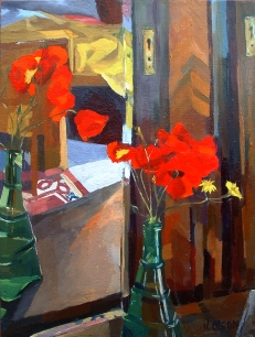 Poppies in Green Bottle 2006