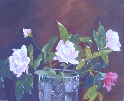 White Roses in Crystal Vase 2015