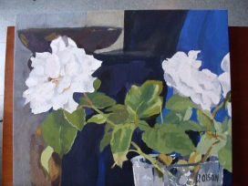 White Roses in Crystal Vase 2014