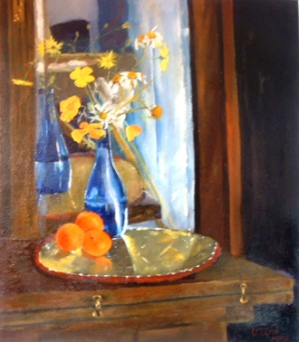 Yellow Spring Flowers in Blue Bottle with Tangerines 2010
