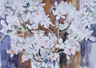 White Almond Blossoms in Crystal Vase 2015