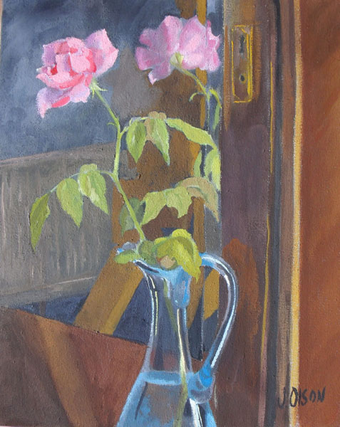 Pink Rose in front of Mirror 2014