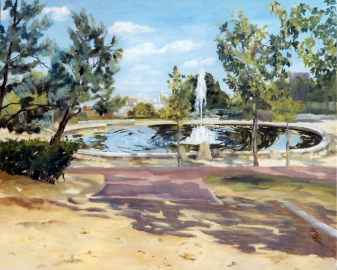Oil Painting of Azorín Park. A sunny blue sky with clouds, typical trees in Madrid, the city in the background and a path leading to a flat double pond with a fountain shooting up in the large pond.