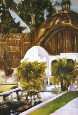 An Acrylic painting of Balboa Park in San Diego. There are eucaliptos trees against a clear blue sky with a large wooden buildiing in the background In the foreground you can see the lily pond with lpink flowers on the top and two trees on either side with white stone rail in the back.