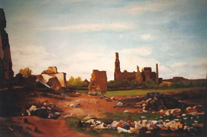 An oil Painting of Belchite. Belchite under a blue sky with clouds and you can see the ruins of old buildings destroyed by war.
