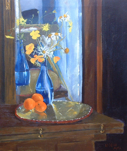Blue Vase with Oranges