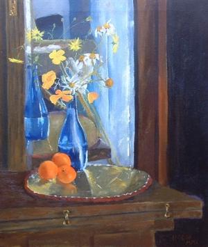 Blue Vase with Oranges