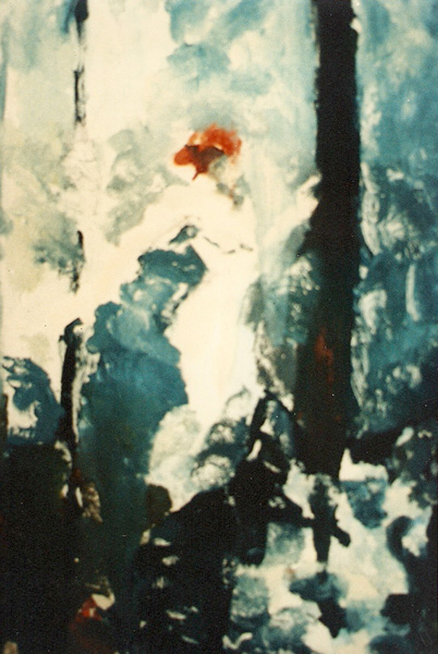 A oil on paper transfer print. A red head is walking through the forest and there is a wolf in the foreground.