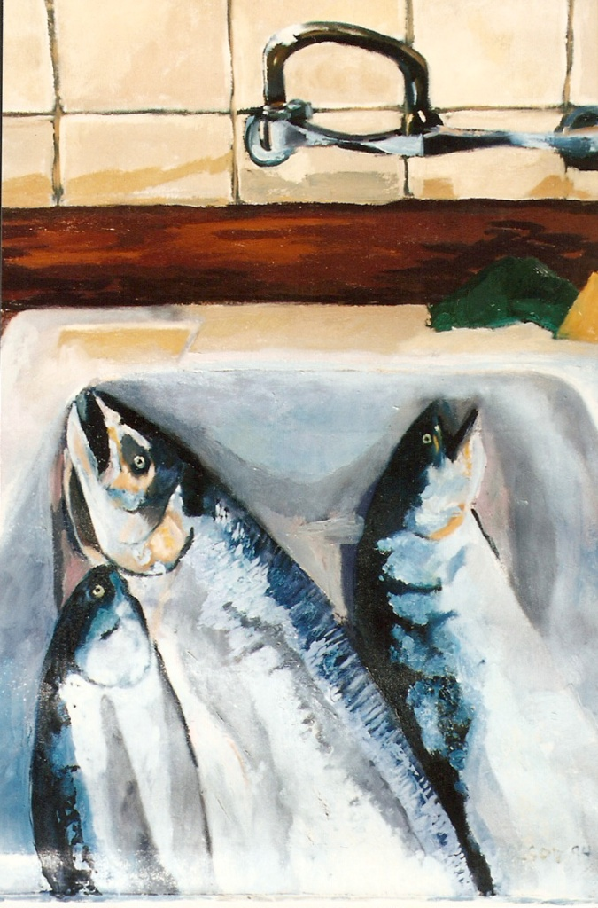 OIl painting of salmon fish in the kitchen sink.