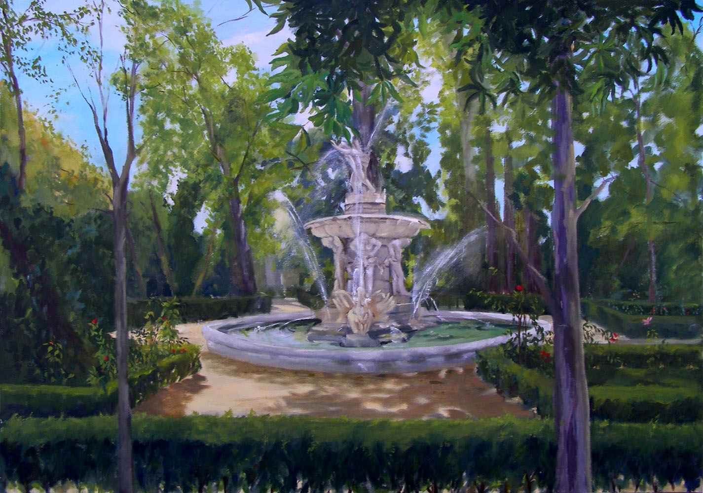 Large Oil Painting of Parque del Principe in Aranjuez, Spain. There is a stone fountain in the center of the painting with a statue of Narciso on the top and the base is made up of 4 statues of Atlas holding up the base of the dish. There are also large birds perhaps geese in the pond shoot up water high in the air.