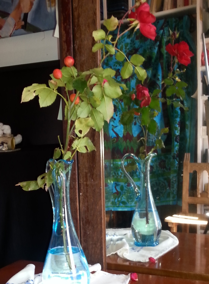 Model for Red Roses in Blue Vase 2015