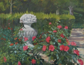 An oil painting of the Rosaleda in September. A large stone vase with fruit in the garden of red roses with a path leading to the park.
