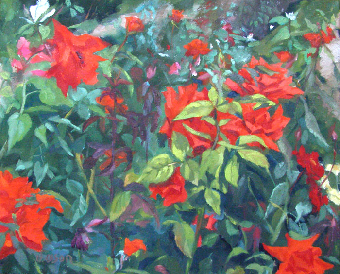 Oil painting of red and pink roses with blue green leaves located in the Retiro Park in Madrid Spain. Plein Air Painting