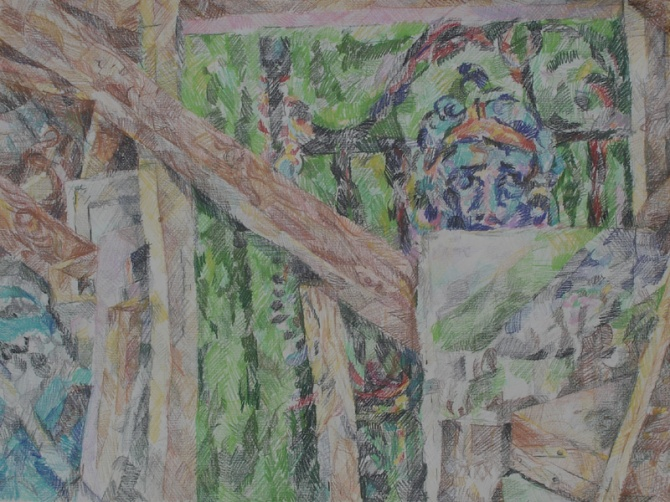 A colored pencil drawing of paintings in the attic. wooden beems.