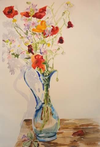 Red Poppies in Blue Vase