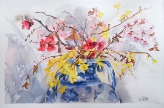 Spanish Spring Blossoms in Talavera Vase 2016