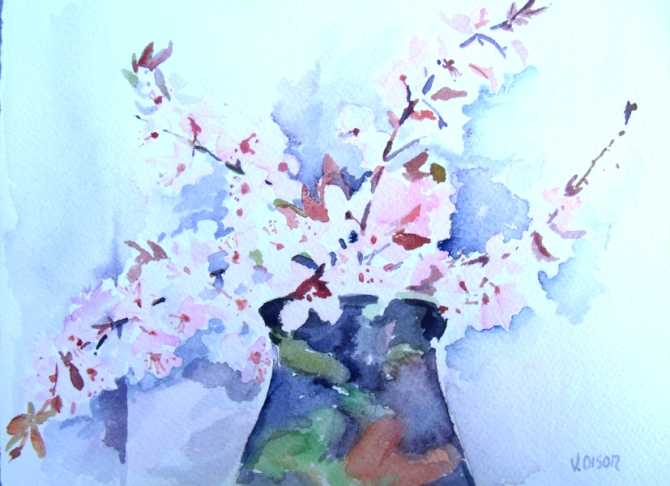 Almond Blossom in Raku Pinch Pot