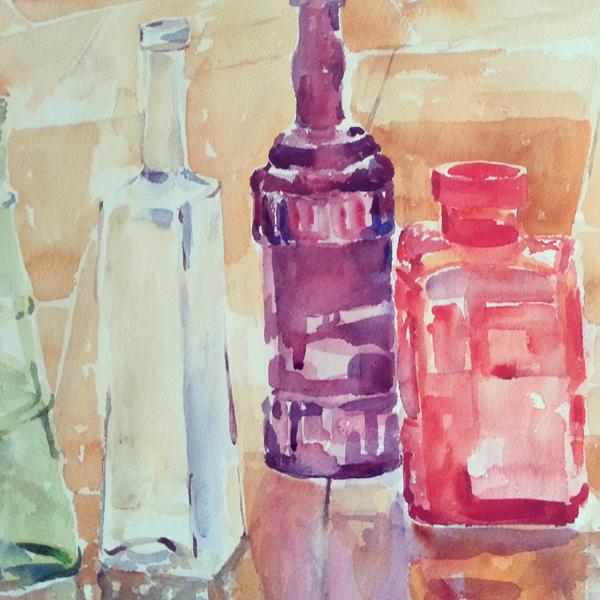 Detail of Glass Bottles in the Rain 2015