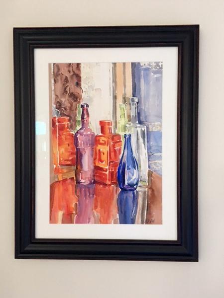 Glass Bottles on Table 2014 (framed)