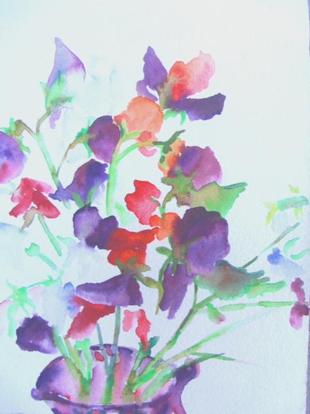 Pea Flowers in Purple Vase