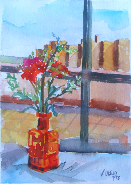 Red Bottle with REd Flowers 1998