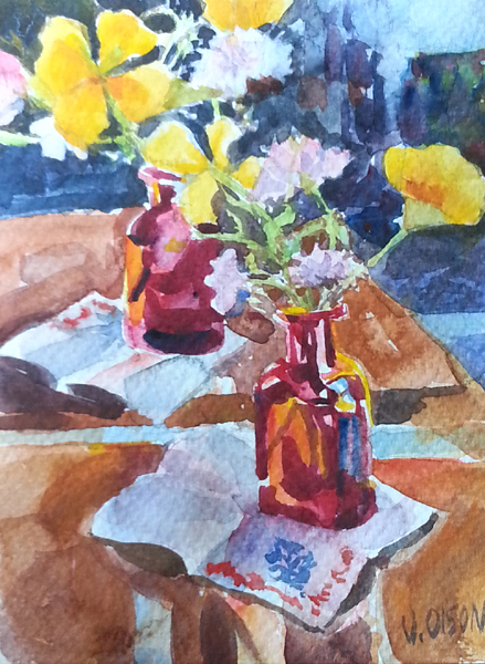 Red Glass Bottle with Orange Poppies 2016