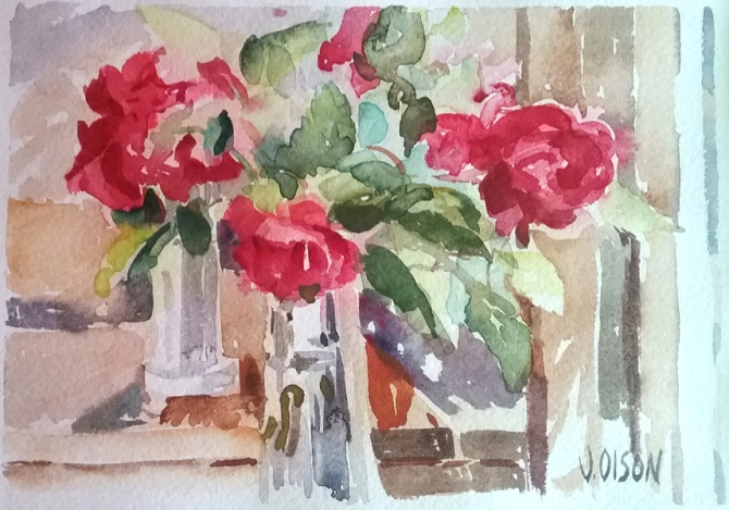 Red Roses in Glass Vase 2015