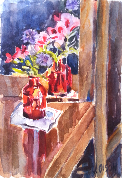 Small Red Bottle with Wildflowers2016