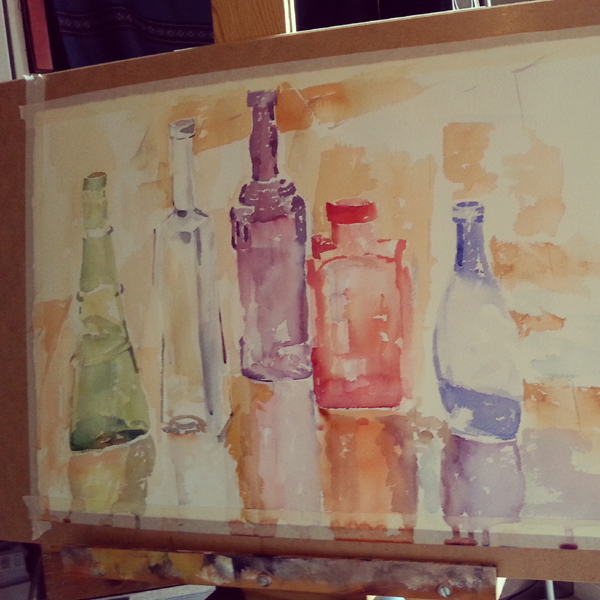 A Painting Stage of Glass Bottles in the Rain 2015