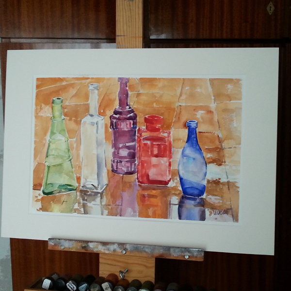 Glass Bottles in the Rain with a Mat 2015