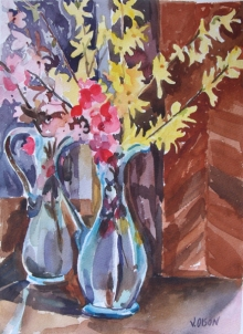 Blue Vase with Yellow Flowers 2012
