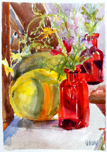 California Wild Flowers in Red Bottle with Melon Summer 2016