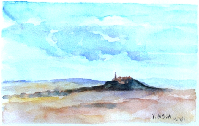 A small watercolor of the Cerro de los Angeles. A big blue sky over the central point of Spain. A little mountain with Sagrado Corazon monument on the top.