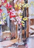 Glass Bottle with Yellow Flowers 2012