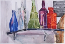 Glass Bottles on Shelf 2014
