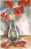 Poppies in Glass Vase 2011