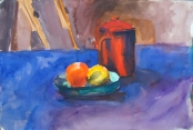 Red Coffee Pot with Orange and Lemon 1992