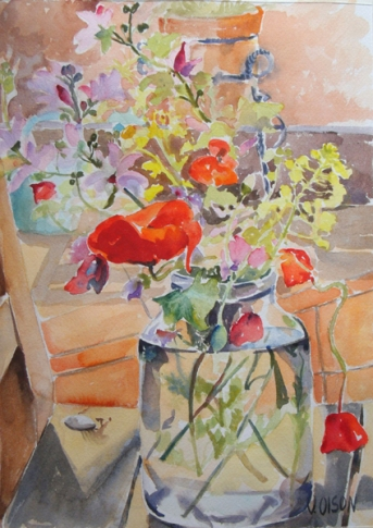Red Poppies with Wild Flowers in Glass Jar April 2015