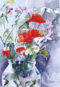 Red Poppies in Pickle Jar 2012