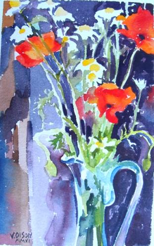 Spanish Poppies in Blue Vase 2012
