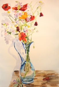 Spanish Poppies in Blue Vase 2015