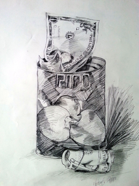 Pencil drawing on paper of a can of Pipo Peppers with money stuffed into it and a dollar bill next to the can.
