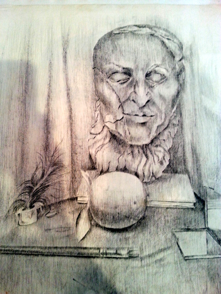 A charcoal drawing on paper of a clay beethoven ludwig van deathmask.