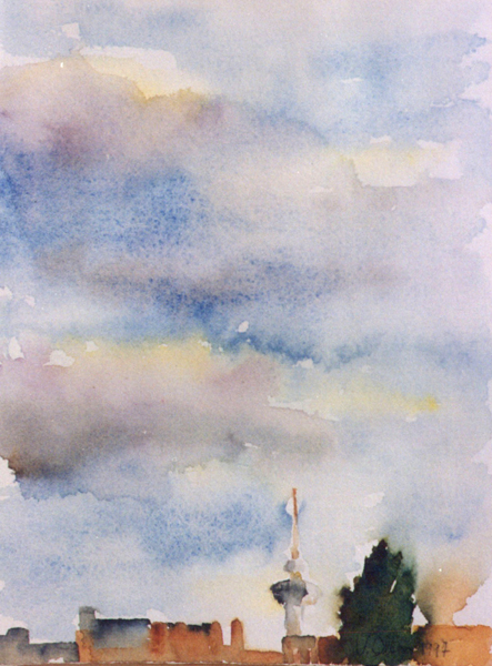 Watercolor of Piruli de Madrid on a cloudy day with skyline