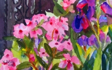 Pink Flowers with Irises 2011