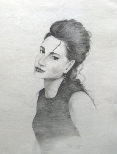 Drawing of a young girl with dark eyes and long pulled back black hair. It's a bust portrait.