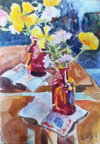 Poppies in Red Bottle 2016