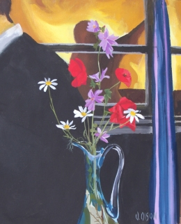 Wild Flowers in Blue Vase