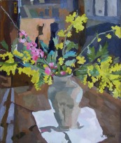 Clay Vase with Spring Flowers